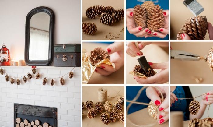 peindre des pommes de pin en peinture dorée, fabriquer une guirlande diy facile pour décorer sa cheminée, idée bricolage avec pommes de pin