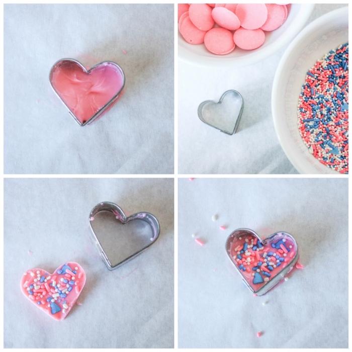 comment faire un gateau de baby shower surprise original, gâteau baby shower au glaçage rose et bleu décoré avec des coeurs en candy melts
