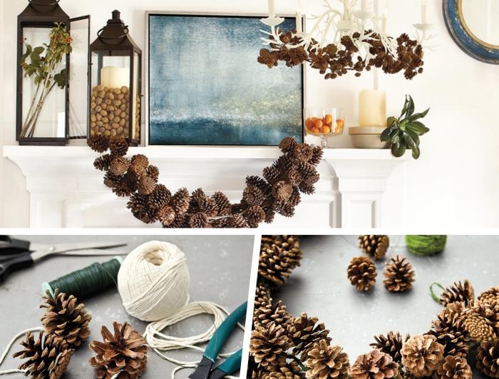 décor hivernal dans un salon blanc avec objets diy faciles, idée activité manuelle automne avec une guirlande en pommes de pins