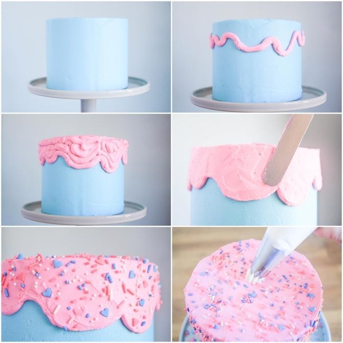 technique de nappage gateau original décorer un gâteau de baby shower rose et bleu, idée pour gâteau de baby shower pour dévoiler le sexe du bébé