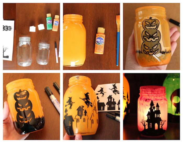 deco halloween a faire soi meme en pot de verre décoré de peinture orange avec dessin halloween en indélébile noir