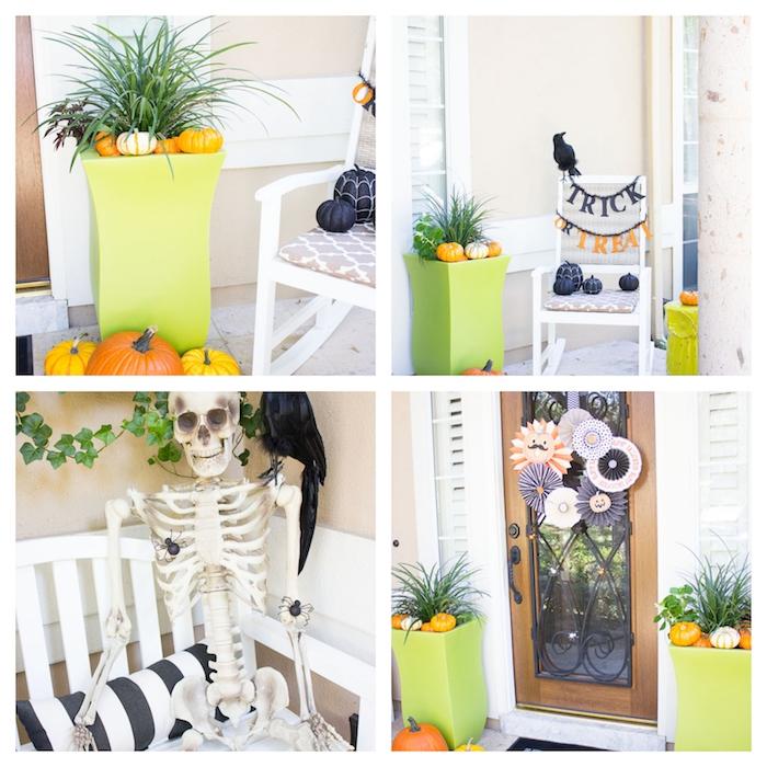 porte décorée d éventails orange, blanc et noir, squelette décorative, gros pots de fleurs décorés de citrouilles et potirons, décoration halloween extérieur a fabriquer