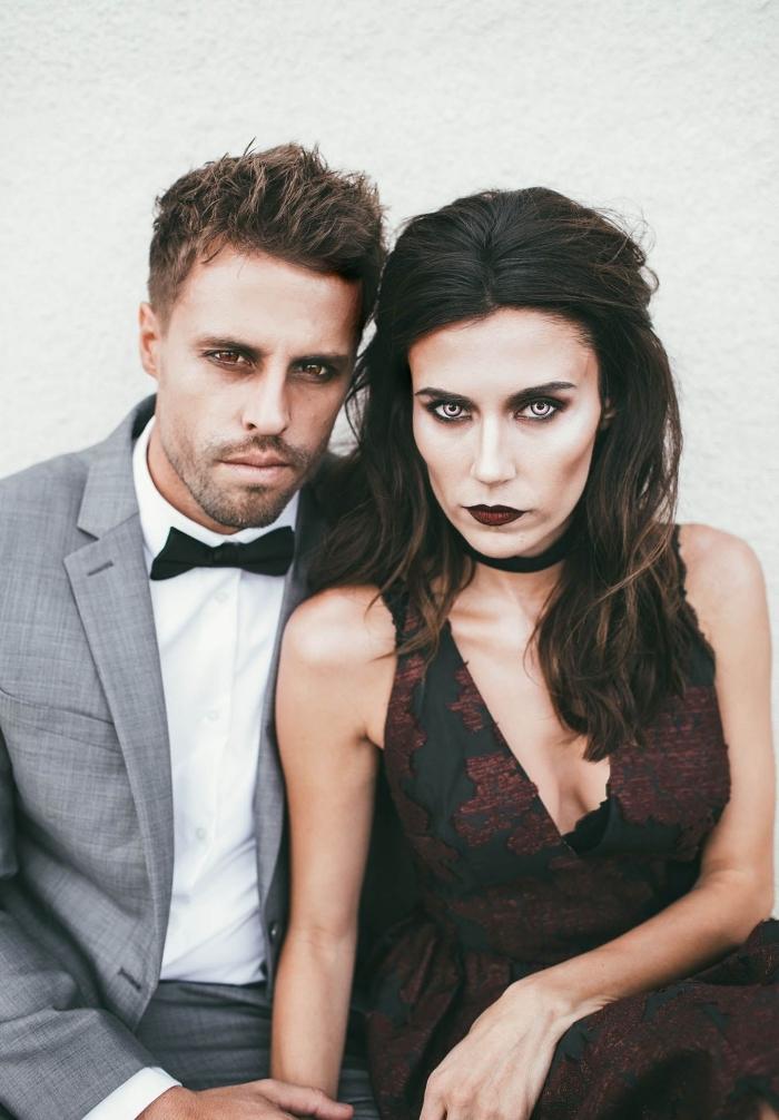 idée de déguisement de couple qui ne fait pas peur, maquillage diablesse glamour et élégante, et son homme vampire