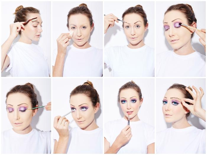 comment se déguiser en elsa de la reine des neiges, maquillage d'halloween princesse disney inspiré du look d'elsa, maquillage des yeux couleur violette et bleue