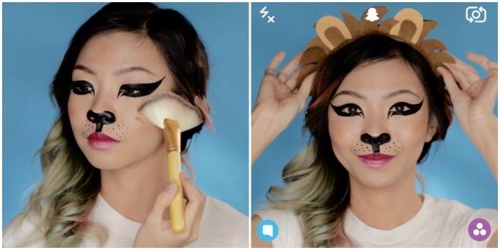 maquillage halloween simple et économique pour se déguiser en filtre snapchat lion, maquillage lion réalisé à l'eye-liner