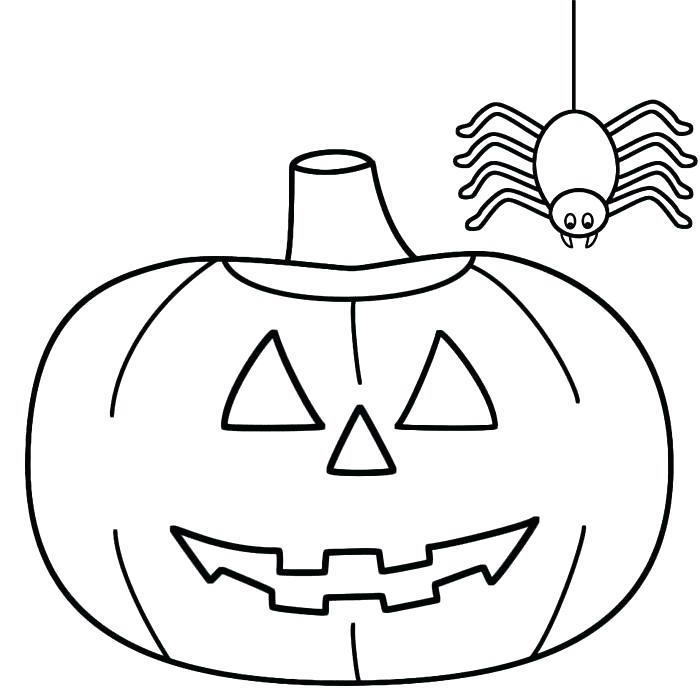 dessiner citrouille halloween dessin facile noir et blanc avec araignée suspendue