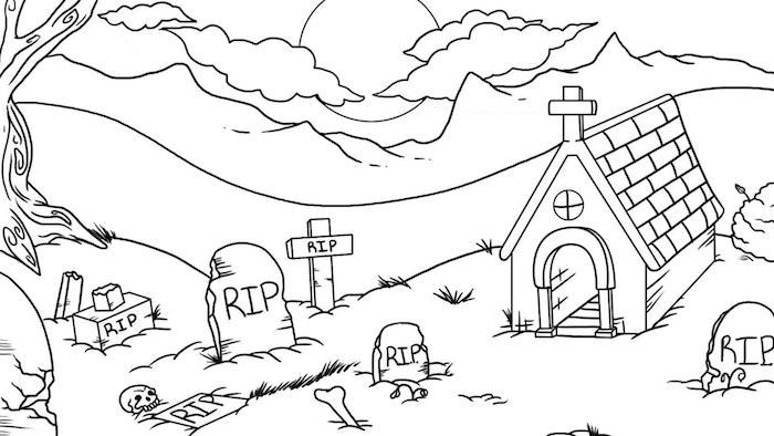 idée coloriage halloween a imprimer qui fait peur paysage cimetière tombes et paysage pleine lune