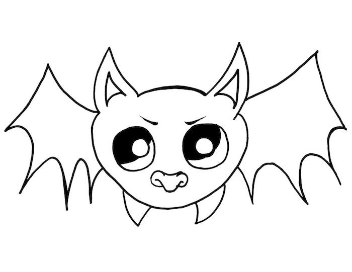 dessin de chauve souris facile à colorier pour halloween