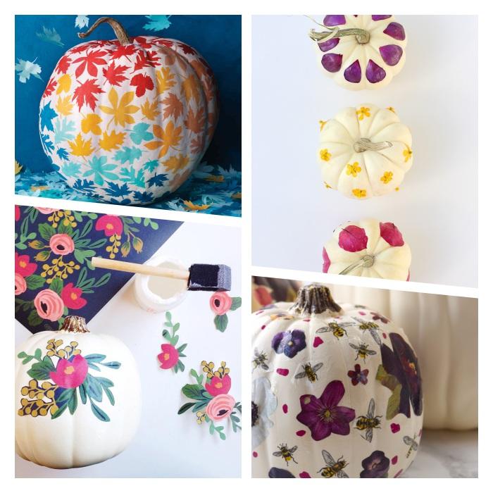 modele de deco halloween fait maison serviettage decoupage sur citrouille, decoration citrouille en pétales de fleurs et papier decoupahe