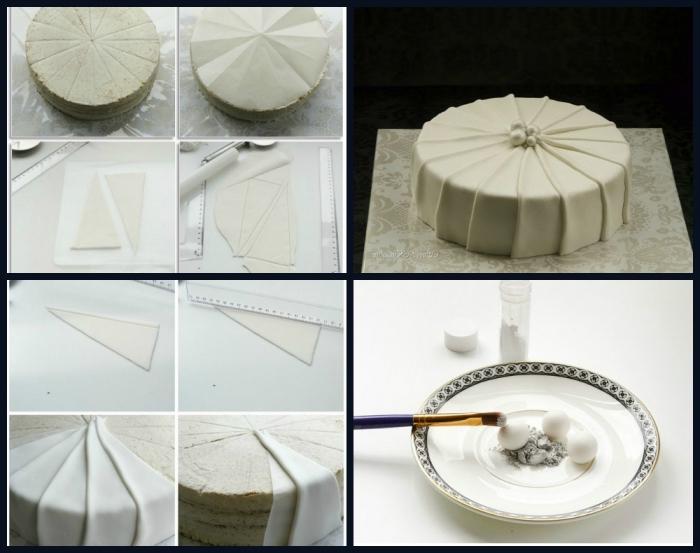 décor de gâteau élégant en pâte à sucre pour une jolie finition effet draperie