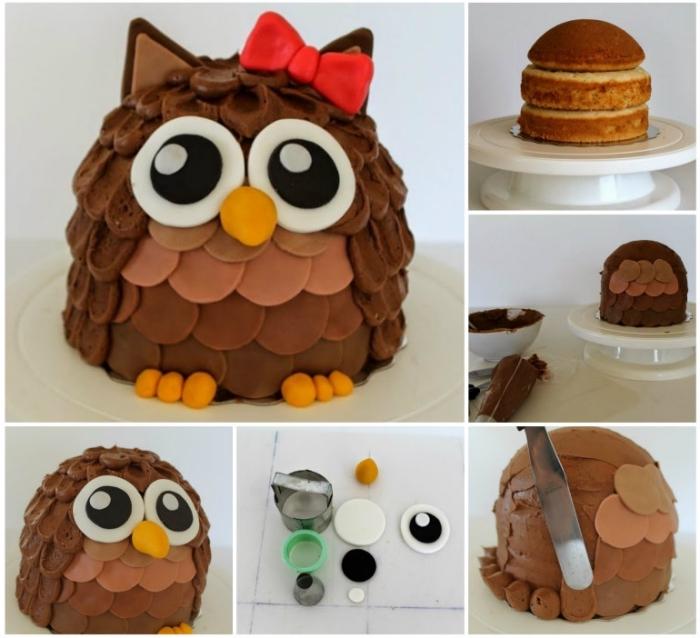 deco pate a sucre facile pour réaliser un gâteau d'anniversaire enfant hibou, nappage original d'un mélange de crème au beurre et fondant