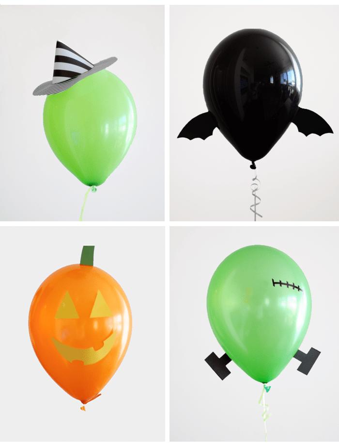 comment creer une deco de fete halloween soi meme en ballons colorés avec motif jack o lantern, chauve souris, monstre, sorcière