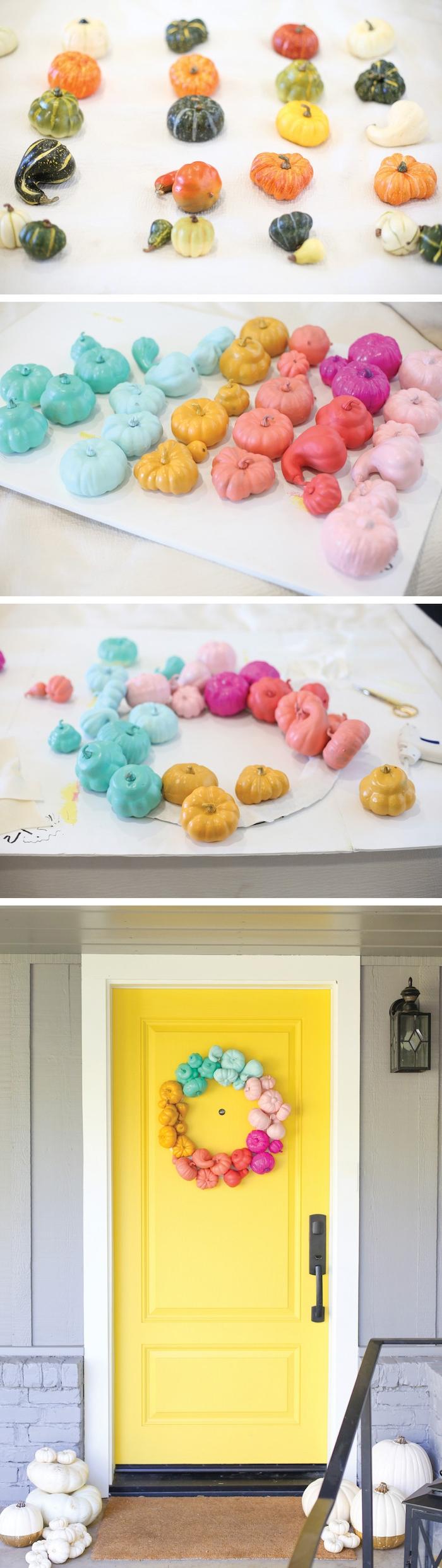 tuto pour fabriquer une couronne de halloween en potirons repeints de couleurs variées pour décorer une porte jaune, décoration halloween extérieur a fabriquer