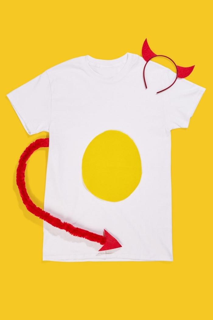 comment personnaliser facilement un t-shirt en déguisement dernière minute, t-shirt Halloween sur le thème diable