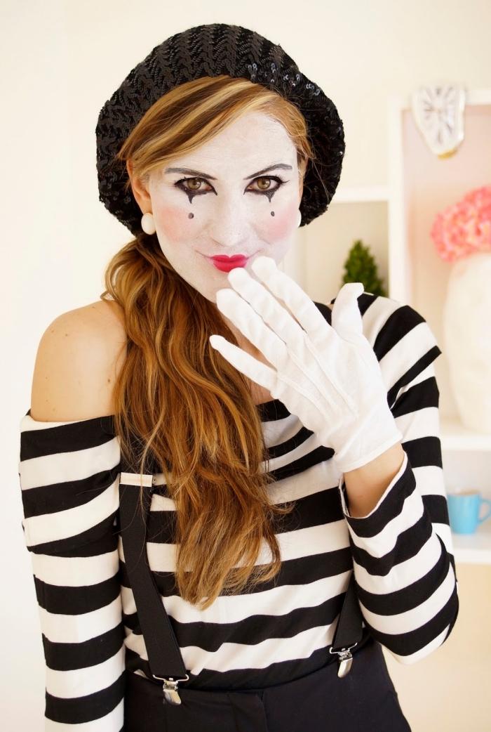 s'habiller comme un mime, idée déguisement femme pour la fête d'Halloween, exemple déguisement dernière minute avec maquillage facile