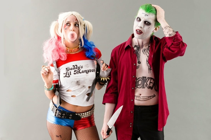 un amour toxique et effrayant, déguisement américain Harley Quinn et le Joker, idee deguisement duo terrifiant