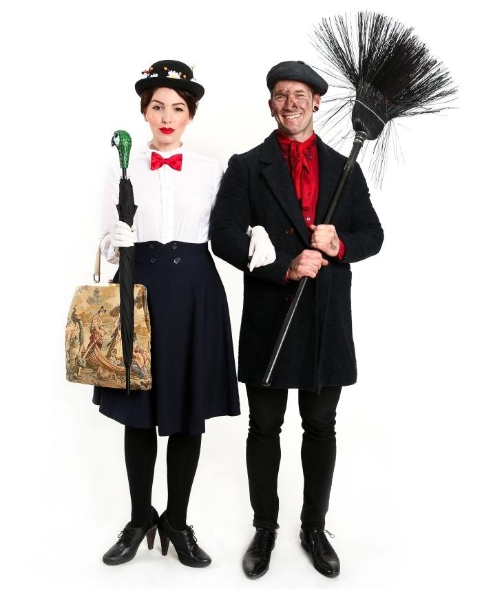idée de déguisement Halloween pour couple, costumes de Mary Poppins et Bert, exemple de deguisement halloween maison