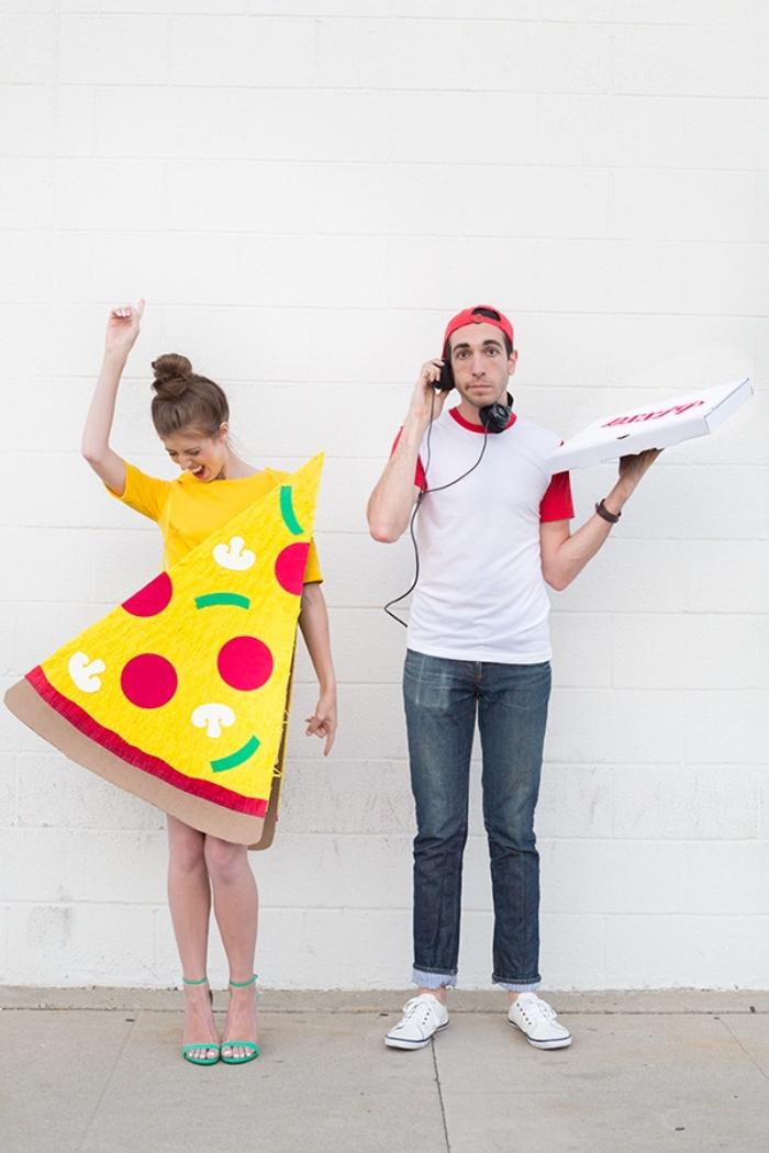 faire un deguisement rigolo pour couple, idée costumes de halloween DIY sur le thème pizza et livreur de pizza