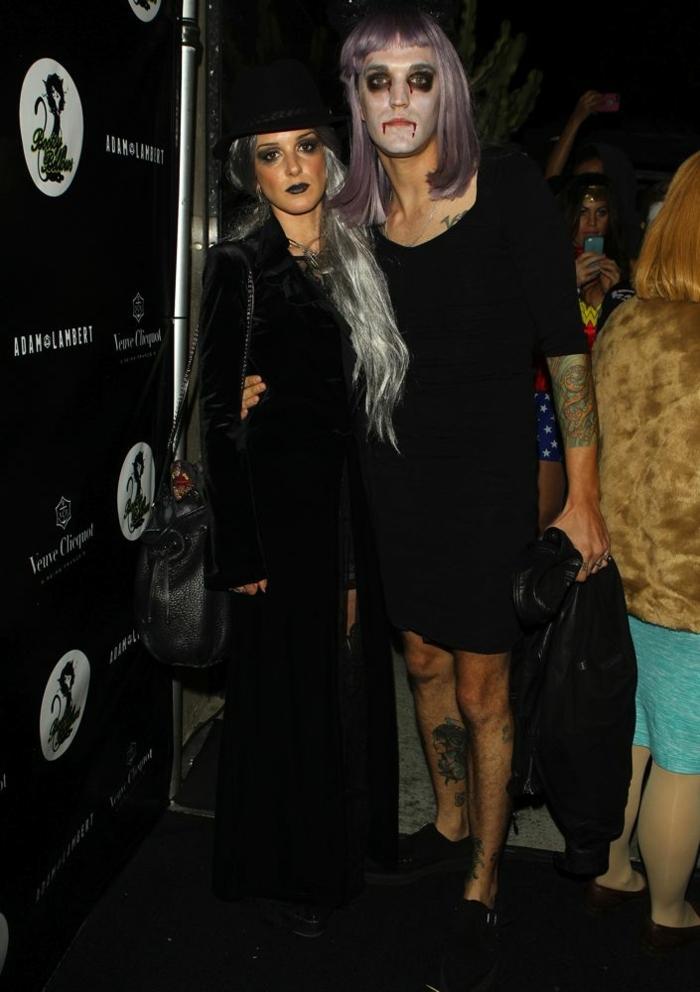 idee deguisement duo facile, déguisement couple pas cher, vampires effrayants aux perruques grises