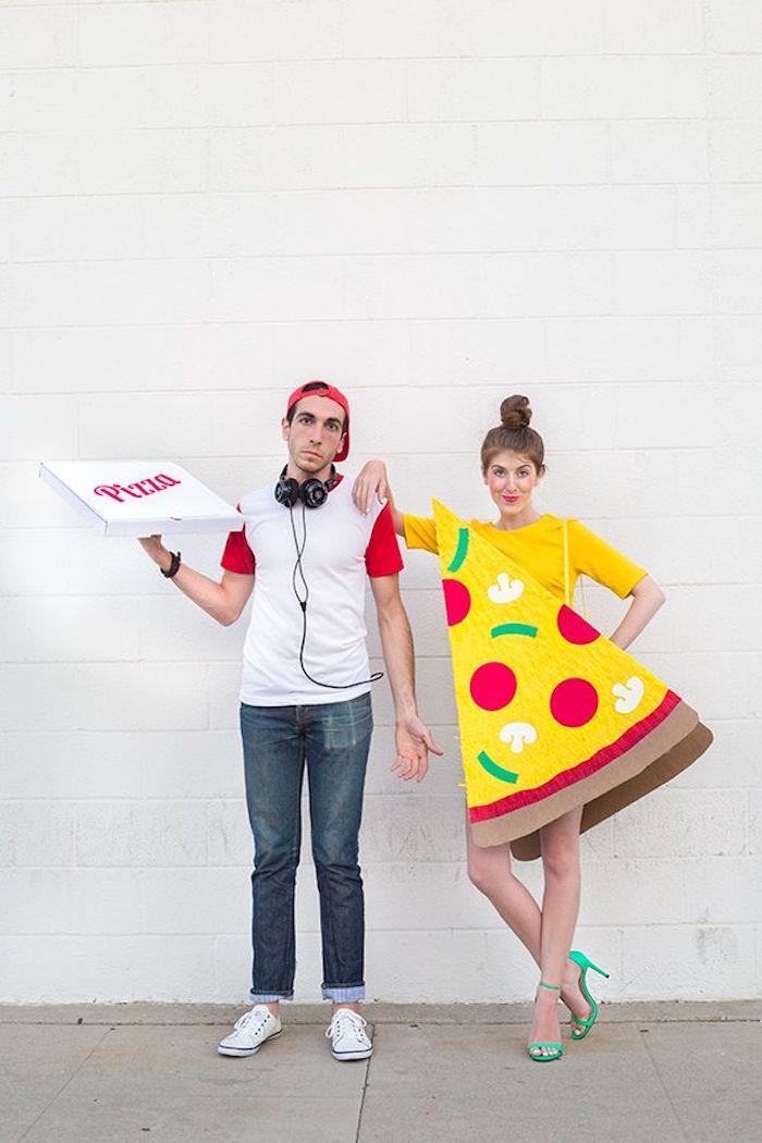 Deguisement de couple, deguisement fête halloween maison costumes complémentaires, pizza morceau et pizza boite