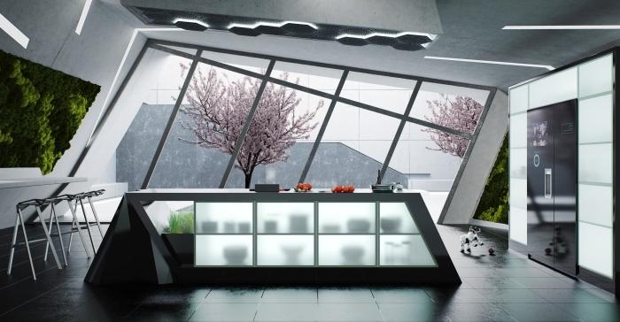 intérieur moderne à design original dans une cuisine aux lignées géométriques et en couleurs neutres avec équipement high tech