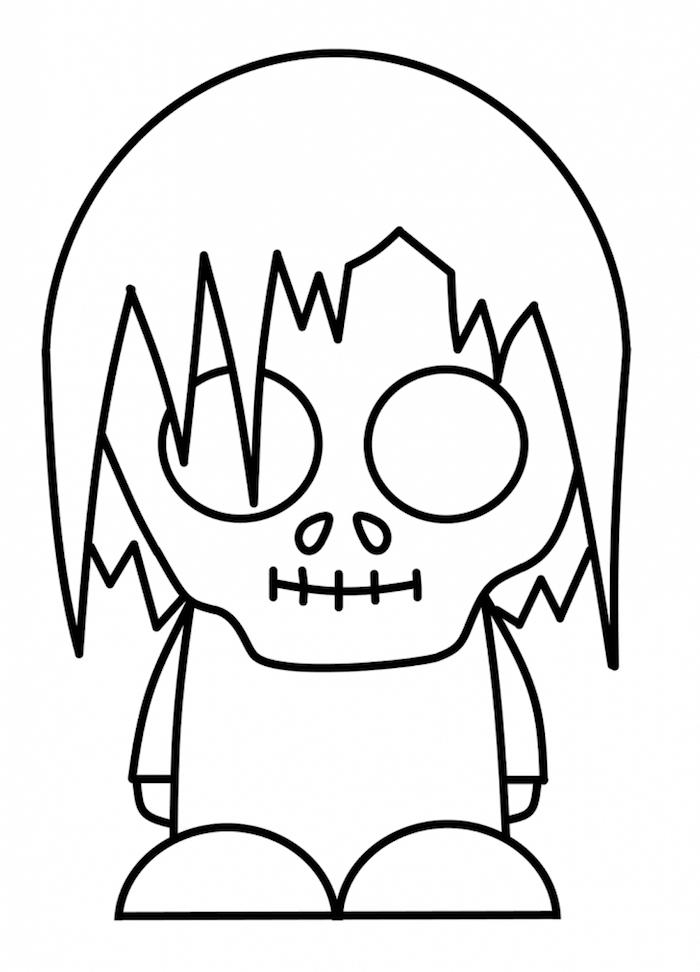 coloriage halloween a imprimer qui fait peur avec petit zombie coloriage enfant