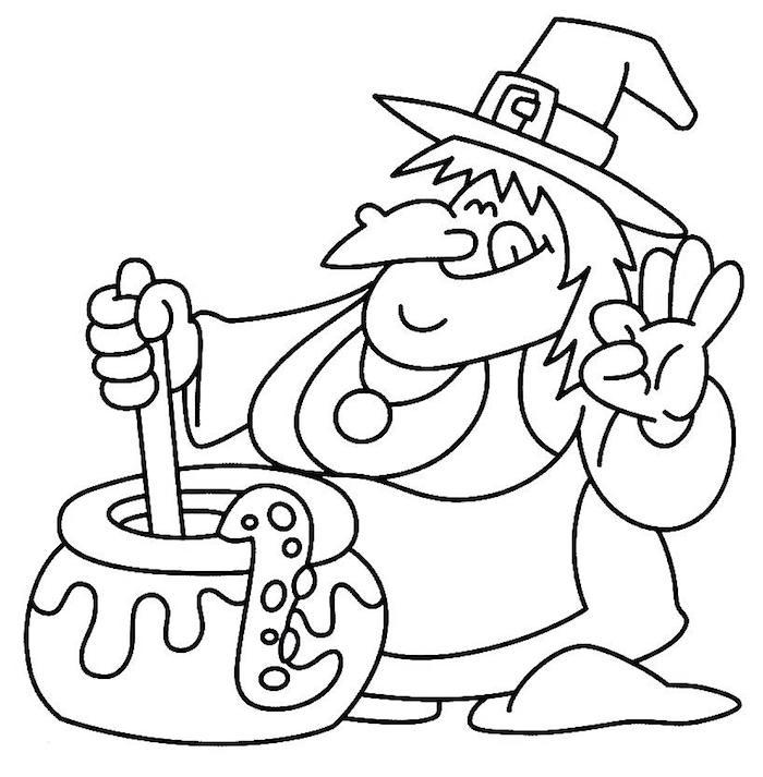 dessin facile de sorciere gentille qui cuisine une potion magique à colorier pour halloween