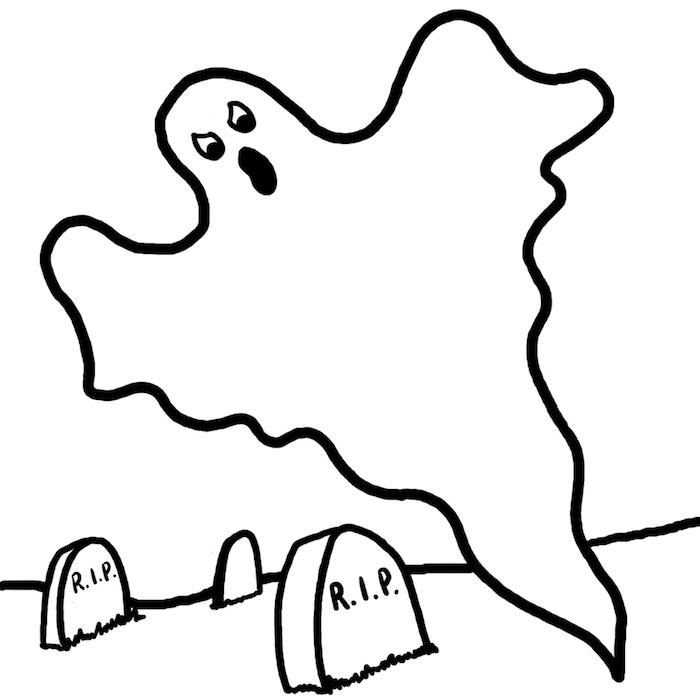 dessiner de fantome dans cimetiere facile pour activité halloween à colorier enfants