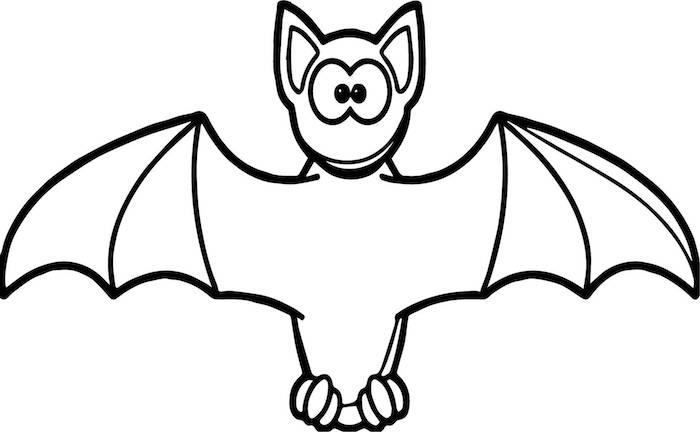 dessin facile chauve souris gentil pour halloween à colorier pour enfants