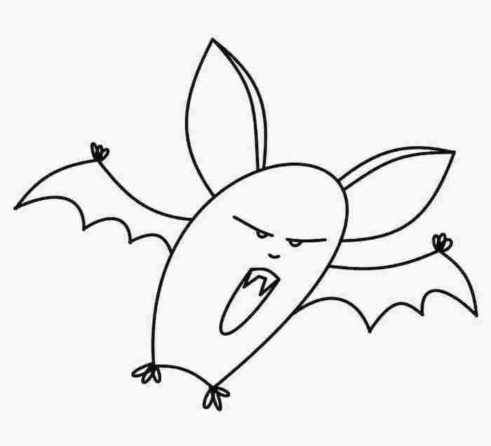 dessin de chauve souris qui fait peur tres facile pour jeune enfant à colorier et imprimer