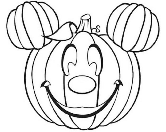 dessiner pour halloween citrouille gentille avec tete de mickey qui sourit e noir et blanc à colorier