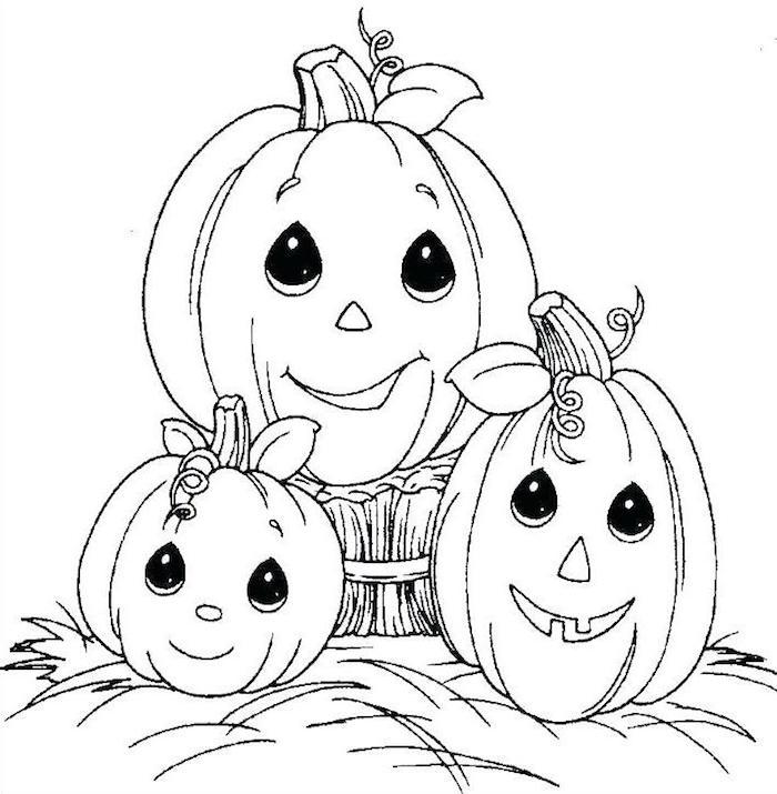 dessin famille de citrouilles gentilles avec maman et enfants à colorier pour halloween