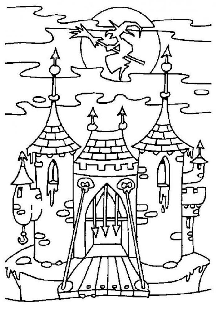 deco halloween a imprimer et colorier chateau hanté avec sorciere sur balais volant