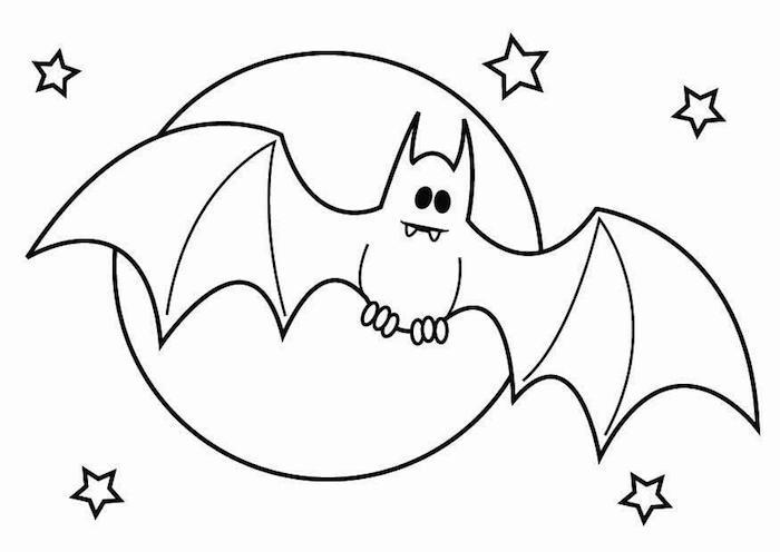 coloriage halloween chauve souris gentille qui vole dans le ciel avec pleine lune et étoiles