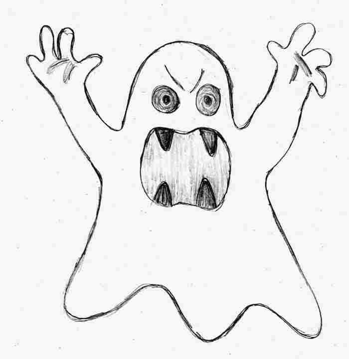modele dessin croquis fantome facile au crayon de bois à copier pour halloween enfant