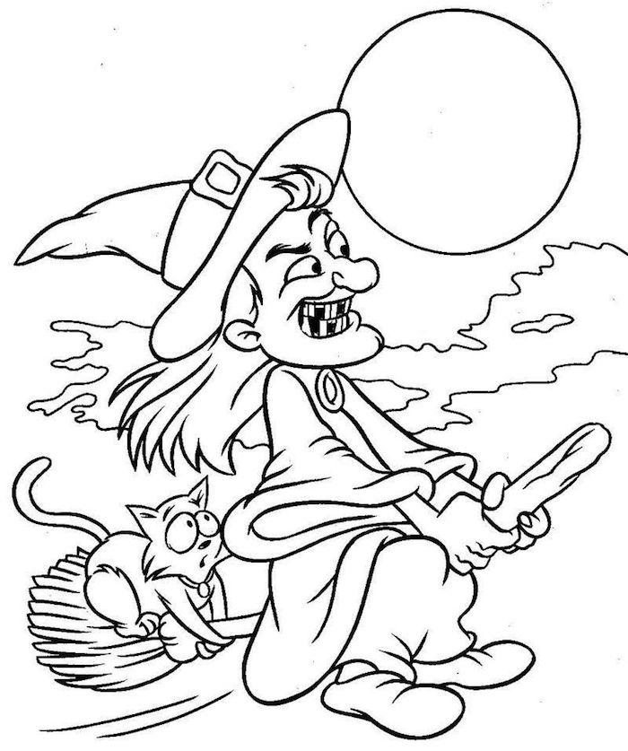 modele coloriage halloween sorciere qui vole sur son balais avec son chat dans le ciel de pleine lune