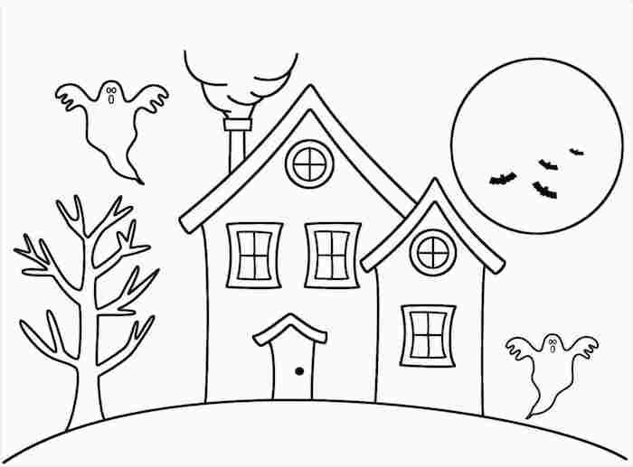 dessin a décalquer paysage halloween maison hantée avec fantomes chauve souris et pleine lune à colorier