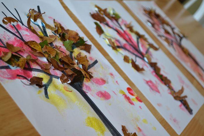 dessin arbre sur un bout de papier blanc avec de la peinture aquarelle et des bouts de feuilles mortes, activité enfant automne simple et rapide