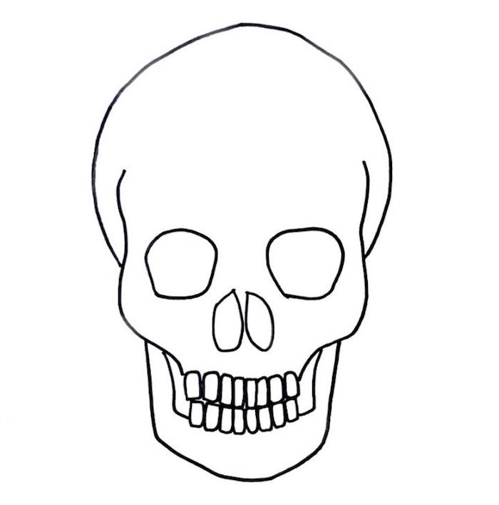 dessin tete de mort très facile à imprimer décalquer et colorier pour halloween