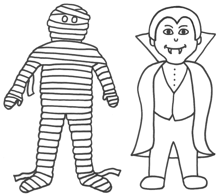 dessins tres facile pour enfants halloween avec gentil vampire et momie à colorier et imprimer