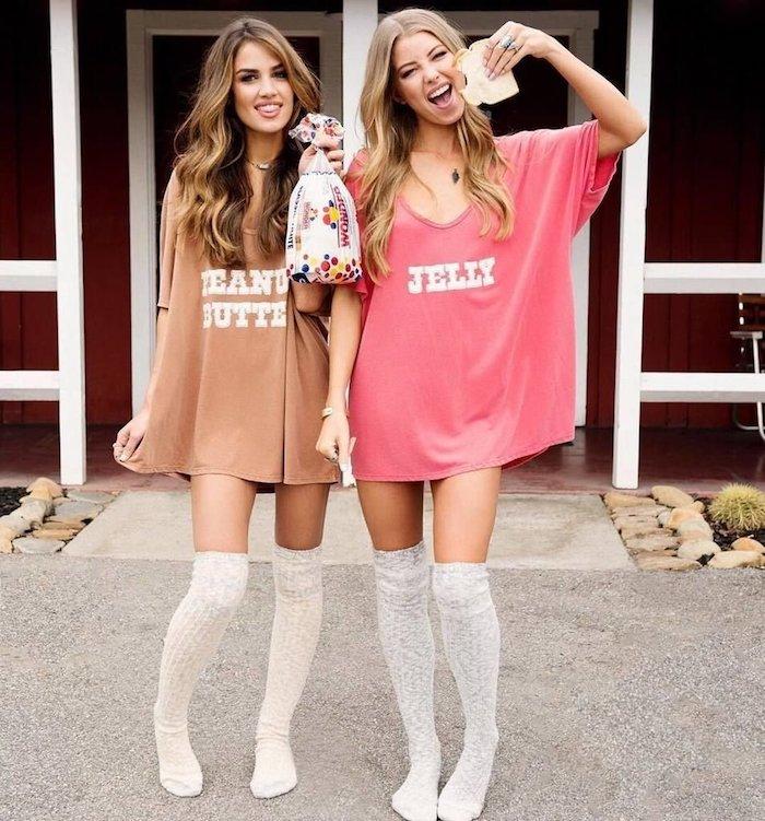 Cool idée costumes pour amies, facile costume fait maison, t-shirt peanut butter et jelly, costumes complémentaires