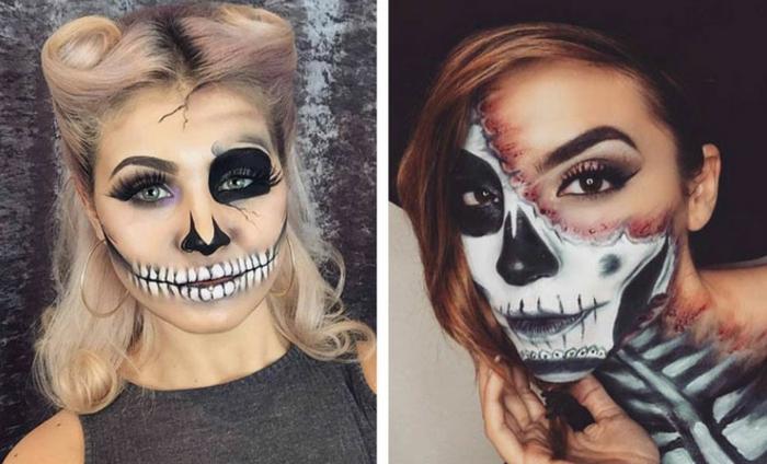 maquillage squelette original, deux versions de tete de mort pour halloween