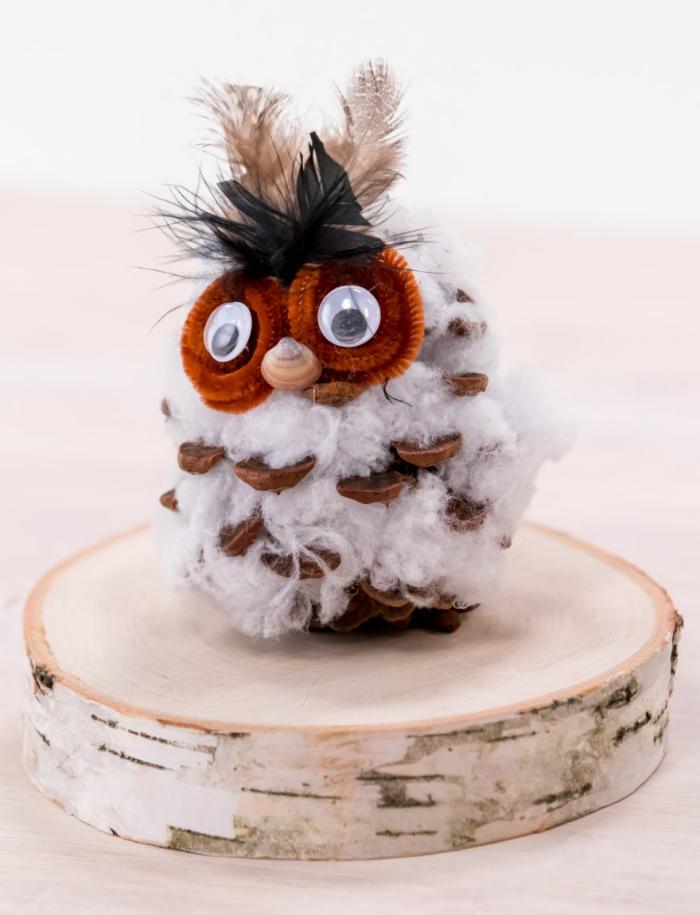 exemple de création avec des pommes de pins, modèle de figurine hibou facile à faire avec plumes et coton