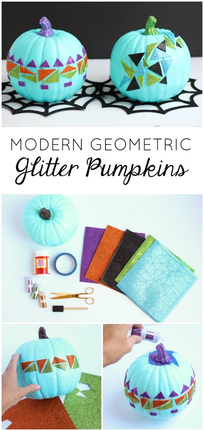 citrouille halloween décorée de triangles pailletées de couleurs variées et tiges décorées de paillettes, bricolage facile et rapide