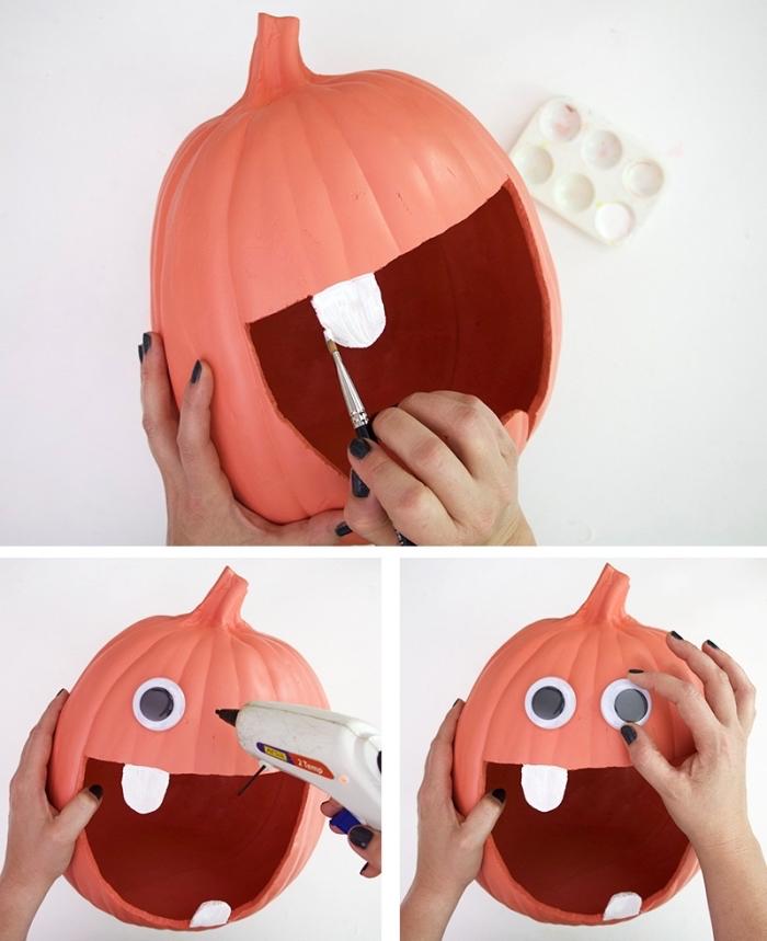 exemple de decoupe citrouille halloween, panier pour bonbons halloween avec une citrouille fausse et yeux mobiles