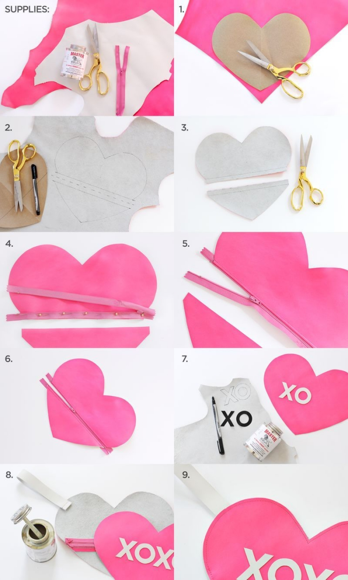 tuto sac pochette ultra mignon en forme de coeur, à mention xoxo, avec fermeture éclair, accessoire de mode adorable pour accessoiriser une tenue d'été