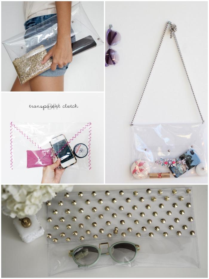 maroquinerie diy pochette transparente en pvc à laquelle on peut rajouter une chaîne pour avoir un sac à main original
