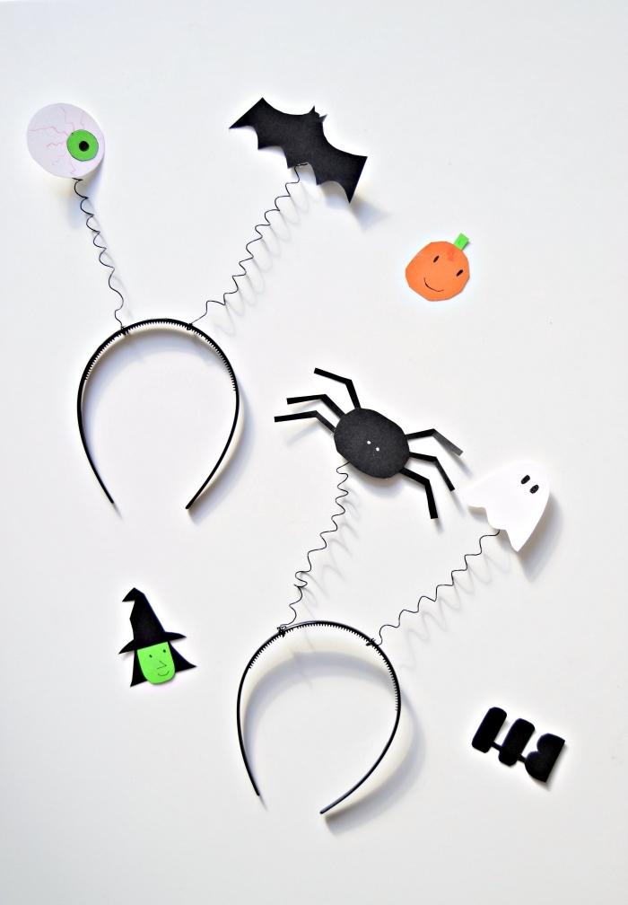 idée d'activité halloween facile pour réaliser un serre-tête effrayant décoré de personnages d'halloween en papier, déguisement d'halloween de fille ou garçon à faire soi-même