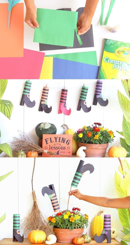 décoration halloween a fabriquer avec des bottes sorcière en papier à rayures dans un pot de fleur entouré de citrouilles décoratives