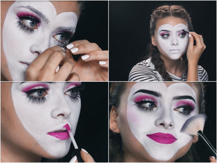 tuto maquillage halloween pour se déguiser en adorable mime au visage coeur peint en blanc aux yeux et à la bouche rose contrastants